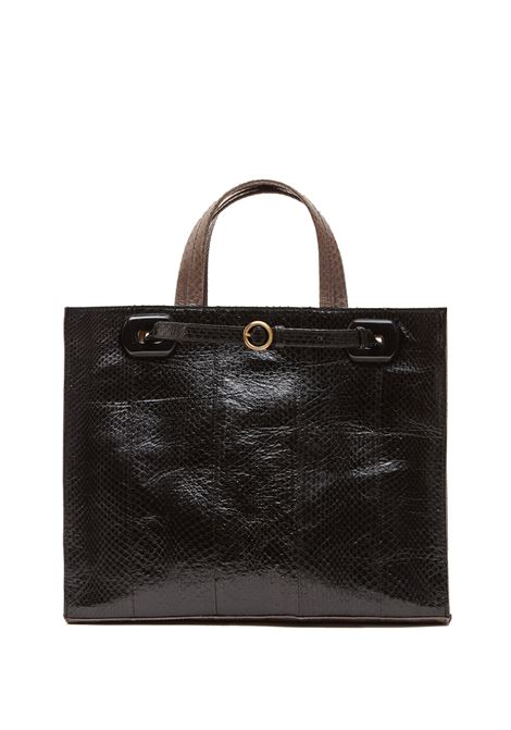 Women's Shopping Bag Exotic Block in Black Wips Leather with Double Handles and Detachable Strap Maliparmi | Bags and backpacks | BH02640146020B21