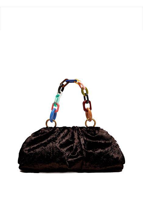 Women's Clutch Bag Velvet Grunge in Black Velvet Moiré with Multicoloured Chain Handle  Maliparmi | Bags and backpacks | BM01606103020000