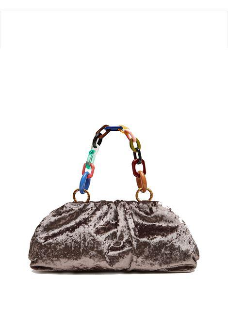 Borsa Donna Pochette Velvet Grunge in Velluto Moiré Grigio con Manico a Catena Multicolore Maliparmi | Borse e zaini | BM01606103021020