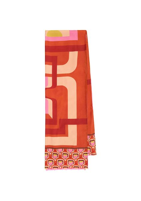 Women's Accessories Stole Collection Print in Silk Orange and Beige Patterned Maliparmi | Scarves and foulards | IB020730106A3167
