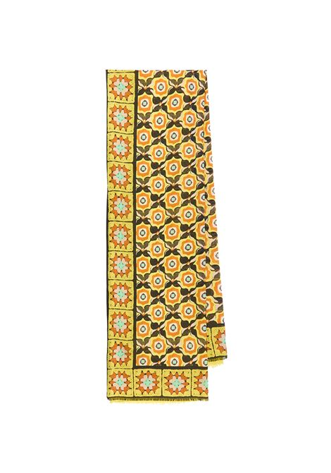 Women's Accessories Stole Collection Print in Silk Yellow and Black Patterned Maliparmi | Scarves and foulards | IB020730106A7048