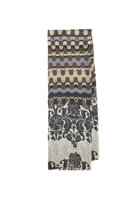 Women's Accessories Stole Collection Print in Silk Beige and Brown Patterned Maliparmi | Scarves and foulards | IB020730106B1111