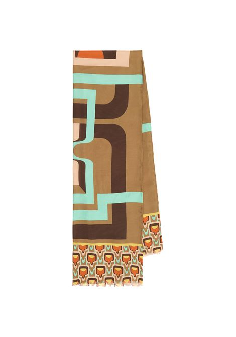 Women's Accessories Stole Collection Print in Silk Taupe and Brown Patterned Maliparmi | Scarves and foulards | IB020730106B1258