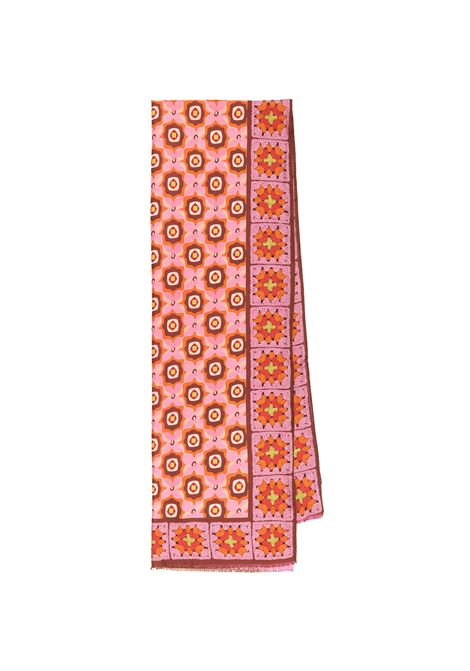 Women's Accessories Stole Collection Print in Silk Pink and Orange Patterned Maliparmi | Scarves and foulards | IB020730106B3254