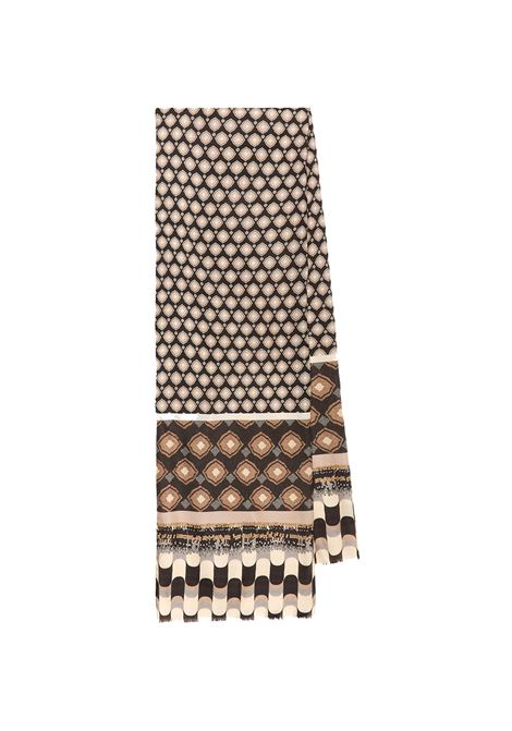 Women's Accessories Stole Collection Print in Silk Brown and Beige Patterned Maliparmi | Scarves and foulards | IB020730106B4071