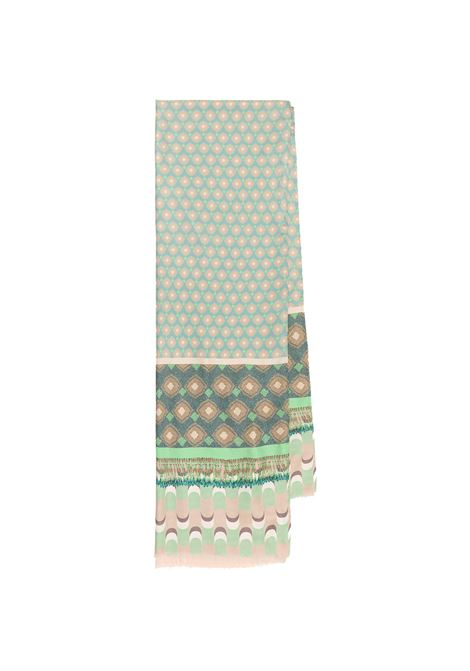 Women's Accessories Stole Collection Print in Silk Green and Taupe Patterned Maliparmi | Scarves and foulards | IB020730106C6044