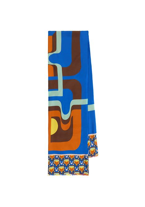 Women's Accessories Stole Collection Print in Silk Blue and Brown Patterned Maliparmi | Scarves and foulards | IB020730106C8058