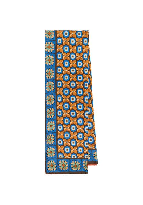 Women's Accessories Stole Collection Print in Silk Blue Patterned Maliparmi | Scarves and foulards | IB020730106C8059