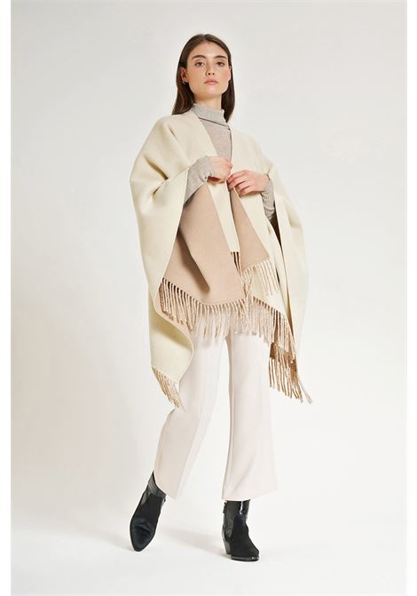 Women's Clothing Double Shawl Cape in Cream and Beige Wool with Fringes Maliparmi   Coats and jackets   IH00422027610B12