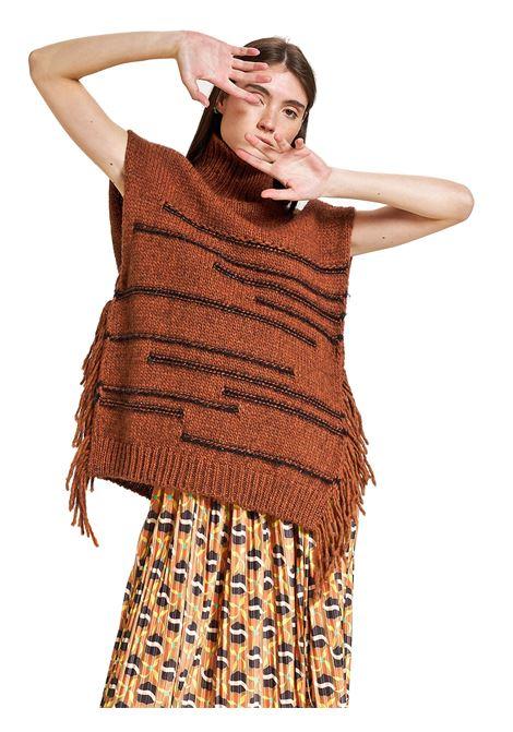 Abbigliamento Donna Gilet Moulinè in Lana Ruggine e Lurex a Collo Alto Maliparmi | Cappotti e Giacche | IH00477051931038