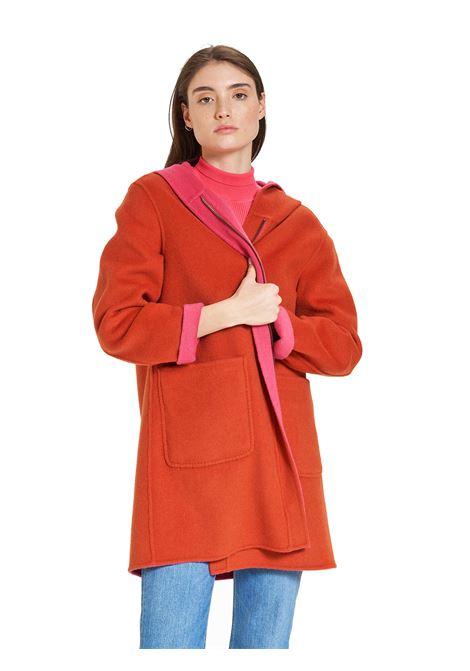 Women's Clothing Long Double Face Coat in Orange and Fuchsia with Hood Maliparmi   Coats and jackets   JA52572027631B34