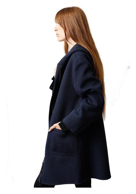Abbigliamento Donna Cappotto Lungo Double Face in Nero e Blu con Cappucio Maliparmi | Cappotti e Giacche | JA52572027680B20
