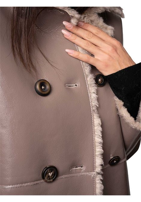 Women's Clothing Double-breasted Jacket Ram-Look Reversible in Grey Eco-sheepskin with Jewel Buttons Maliparmi | Coats and jackets | JA52585056312007