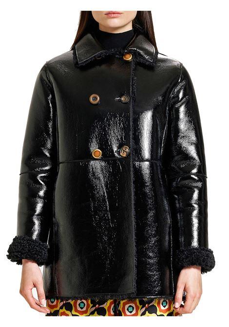 Abbigliamento Donna Giaccone Doppiopetto Ram Look Reversibile in Nero con Bottoni Gioiello Maliparmi | Cappotti e Giacche | JA52585056320000