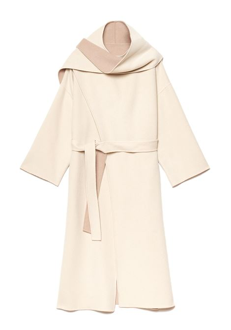 Women's Clothing Double Coat in White and Beige Wool with Belt Maliparmi | Coats and jackets | JB53262027610B12