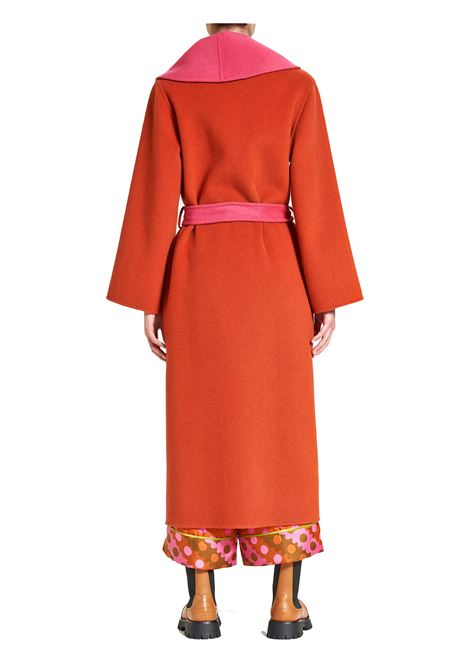 Women's Clothing Double Coat in Orange and Fuchsia Wool with Belt Maliparmi | Coats and jackets | JB53262027631B34