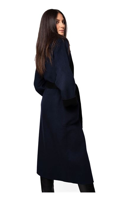 Women's Clothing Double Coat in Blue and Black Wool with Belt Maliparmi | Coats and jackets | JB53262027680B20