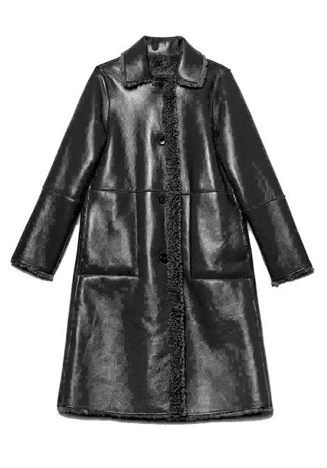 Abbigliamento Donna Cappotto Monopetto Ram Look Reversibile Nero Lucido Tono su Tono Maliparmi | Cappotti e Giacche | JB53315056320000