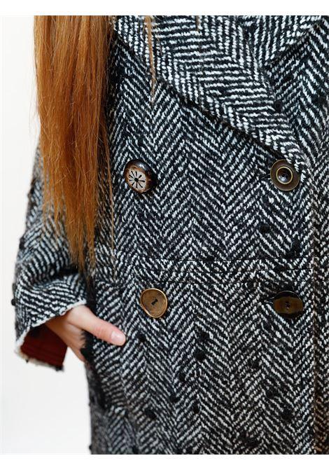 Abbigliamento Donna Cappotto Doppiopetto Herring Spigato in Lana Bianco e Nero Maliparmi | Cappotti e Giacche | JB53362019220B10