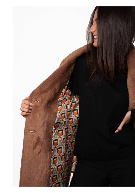 Women's Clothing Coat Furry Wool in Eco Fur Camel Revers Collar and Jewel Button  Maliparmi | Coats and jackets | JB53396006041008