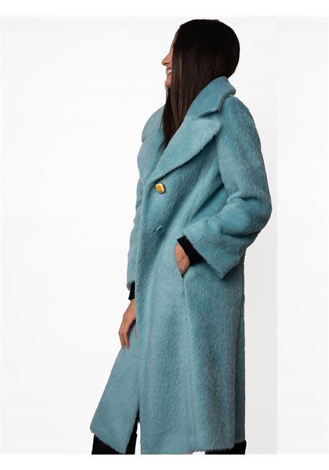 Women's Clothing Coat Furry Wool in Eco Fur Aqua Green Revers Collar and Jewel Button  Maliparmi | Coats and jackets | JB53396006060012