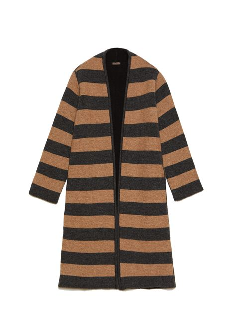 Women's Clothing Coat Double Alpaca in Shaved Wool Knit Brown and Grey Maliparmi | Coats and jackets | JB53417052521B10