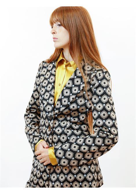 Women's Clothing Archizoom Single-breasted Jacket in Jacquard Stretch Black Patterned Maliparmi | Jackets | JD638060050B2027