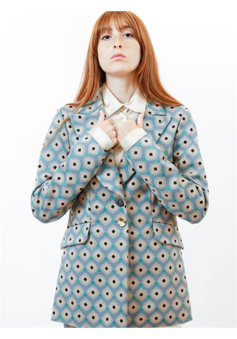 Women's Clothing Archizoom Single-breasted Jacket in Jacquard Stretch Sky Patterned Maliparmi | Jackets | JD638060050C6050