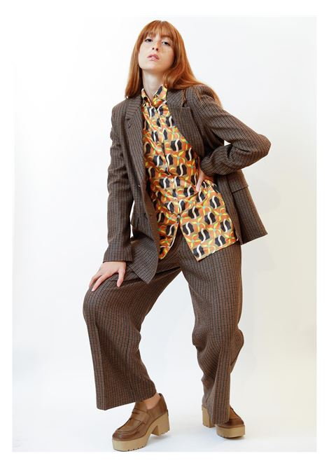 Women's Clothing Micro Double-breasted Jacket in Houndstooth Wool Brown and Jewel Buttons Maliparmi | Jackets | JD639720194B4073