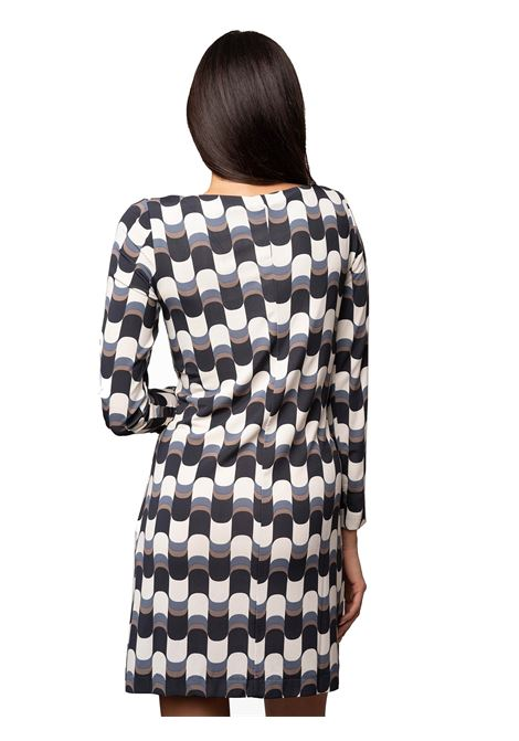 Women's Clothing Dress Superwave Beige and Black Printed Viscose with Boat Neckline Maliparmi | Dresses | JF641370512B1245