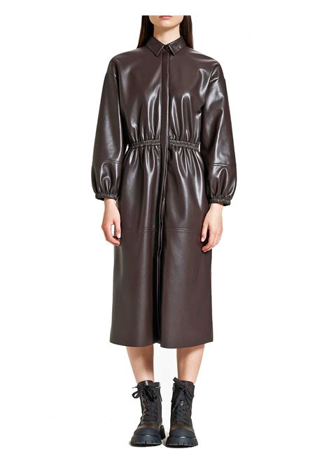 Women's Clothing Long Leather Dress in Brown Eco-Leather with Puffed Sleeves Maliparmi | Dresses | JF64625056940007