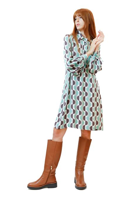Women's Clothing Roundground Long Dress in Green Sablè with Patterned Mother of Pearl Buttons Maliparmi | Dresses | JF646650568C6040
