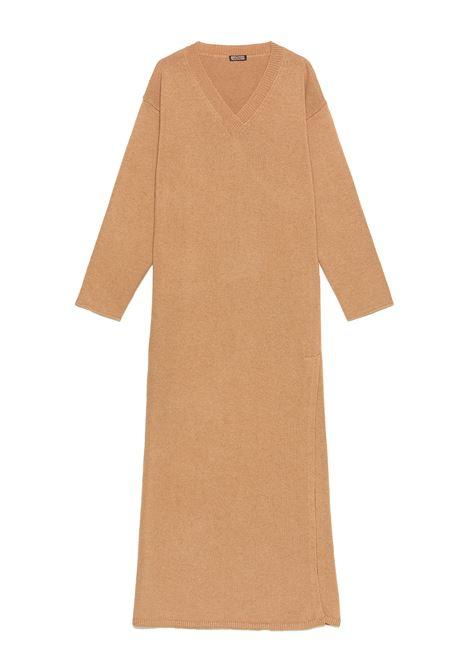 Women's Re-volution V-Neck Long Dress in Wool Knit Beige Maliparmi | Dresses | JF64737051812035