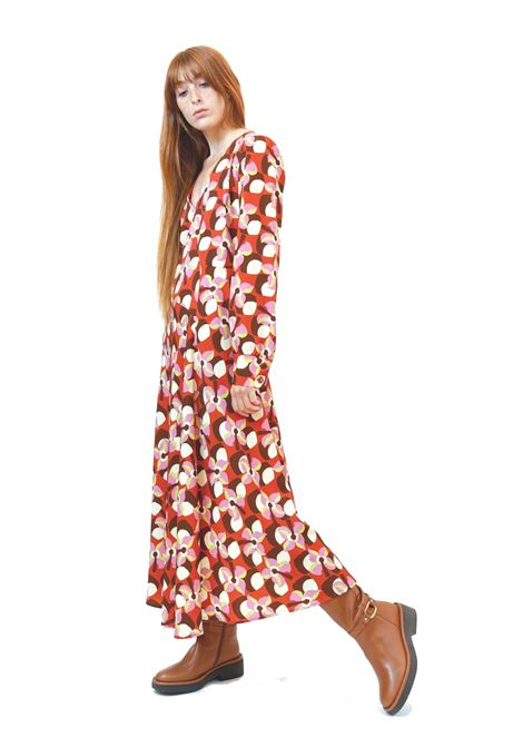 Women's Clothing Wallpaper Long Dress in Red Patterned Stretch Twill Maliparmi | Dresses | JF648160059B3252