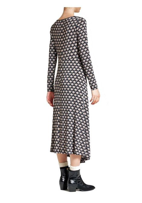 Women's Dress Archizoom in Black Printed Jersey with V-Neck and Long Sleeves Maliparmi   Dresses   JF648770513B2025