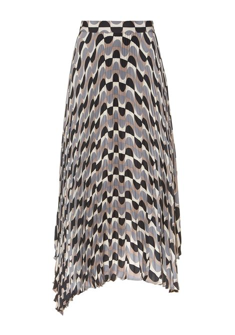 Women's Clothing Skirt Roundground Sablè in Viscose Brown and Grey Printed with Plissé Maliparmi | Skirts and Pants | JG362650568B1247