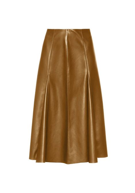 Women's Clothing Knee High Leather Skirt in Tan Eco-leather Maliparmi | Skirts and Pants | JG36275056941008