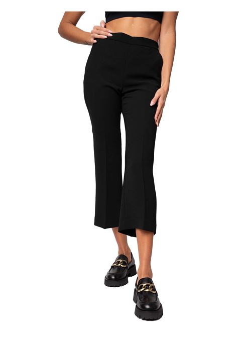 Women's Clothing Trousers in Black Crepe Sablè with Pressed Pleat and French Pockets Maliparmi | Skirts and Pants | JH71445016620000