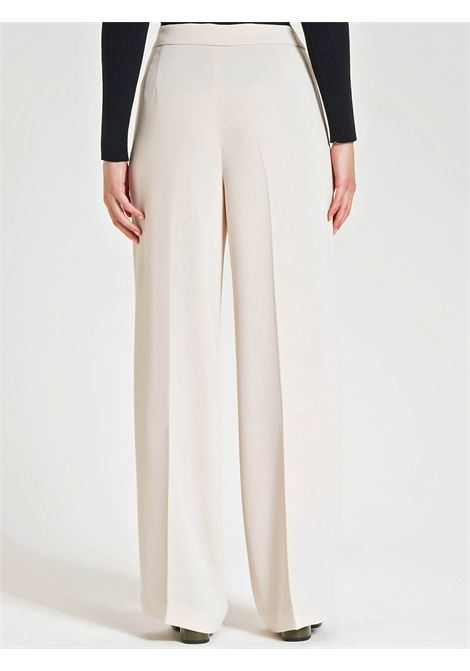 Women's Clothing Trousers in Ivory Crepe Sablè with Pressed Pleat and French Pockets Maliparmi | Skirts and Pants | JH73855016610003