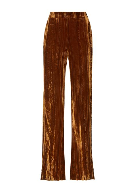 Women's Clothing Trousers Crinkle Velvet in Velvet Biscuit Froissé Viscose and Silk with French Pockets Maliparmi | Skirts and Pants | JH73856102941004