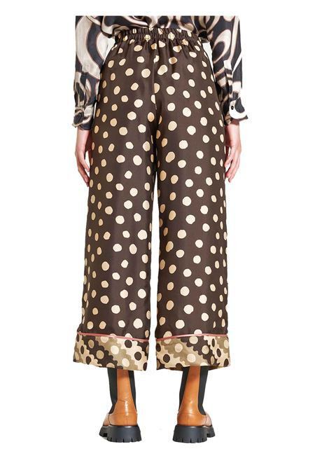 Women's Clothing Silk Twill Tale Trousers in 100% Silk Brown and Ivory Maliparmi | Skirts and Pants | JH739930112B4075