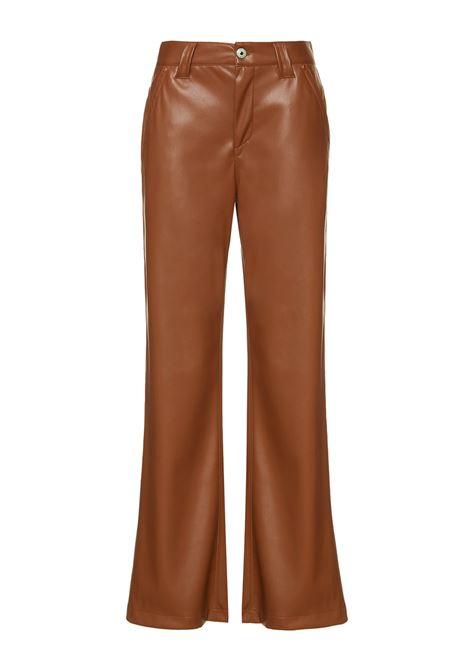Women's Clothing Trousers Leather in Tan Eco-Leather Denim Cut and Straight Leg Maliparmi | Skirts and Pants | JH74615056941008