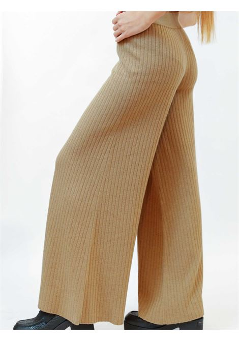 Women's Clothing Re-volution Trousers in Beige Wool Blend with Elastic Waistband Maliparmi | Skirts and Pants | JH74707051812035