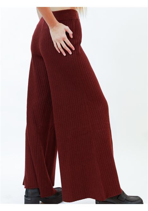 Women's Clothing Trousers Re-volution in Bordeaux Wool Blend with Elastic Waistband Maliparmi | Skirts and Pants | JH74707051833010