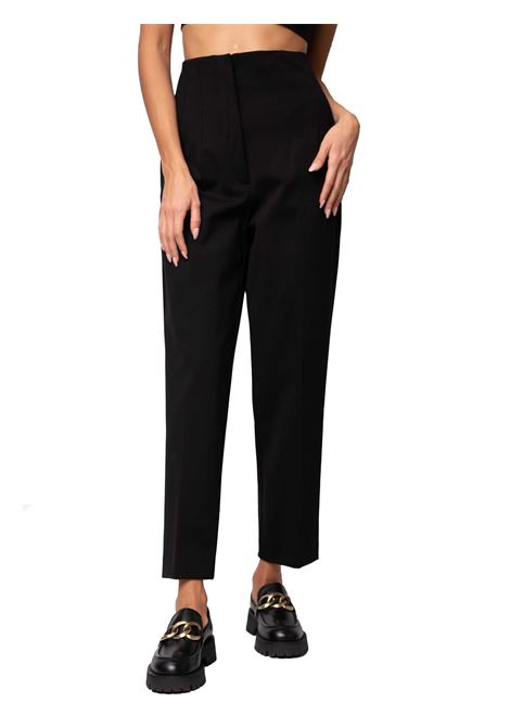 Women's Clothing Pants Techno Scuba in Black Stretch Jersey with Side Zip and Front Pressed Pleat Maliparmi | Skirts and Pants | JH74756005720000