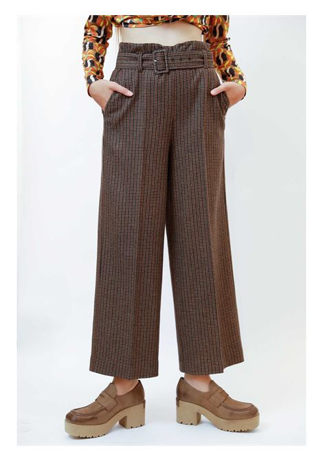 Women's Clothing Pants Micro in Houndstooth Brown with Belt in Tone Maliparmi | Skirts and Pants | JH747620194B4073