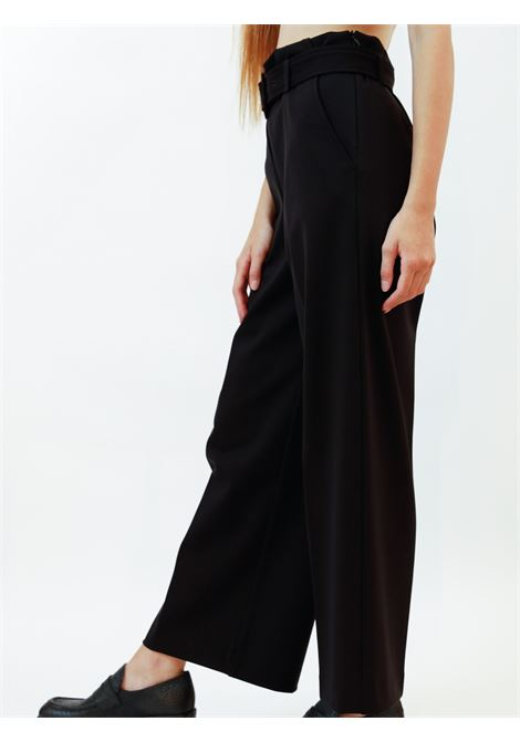 Women's Clothing Pants Techno in Black Stretch with Belt in Tone Maliparmi | Skirts and Pants | JH74766005720000