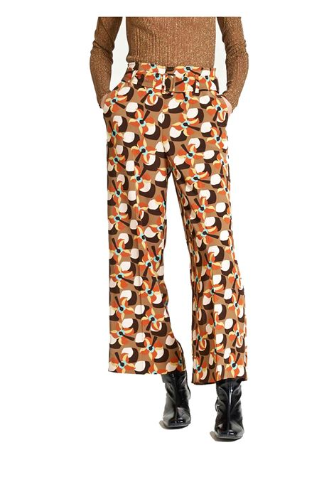 Abbigliamento Donna Pantalone Wallpaper Flow in Twill Beige a Fantasia Ampio al Fondo Maliparmi | Gonne e Pantaloni | JH747660059B1253