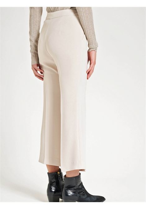 Women's Clothing Flare-leg Trousers in Ivory Sablè Crepe and French Pockets Maliparmi | Skirts and Pants | JH74795016610003