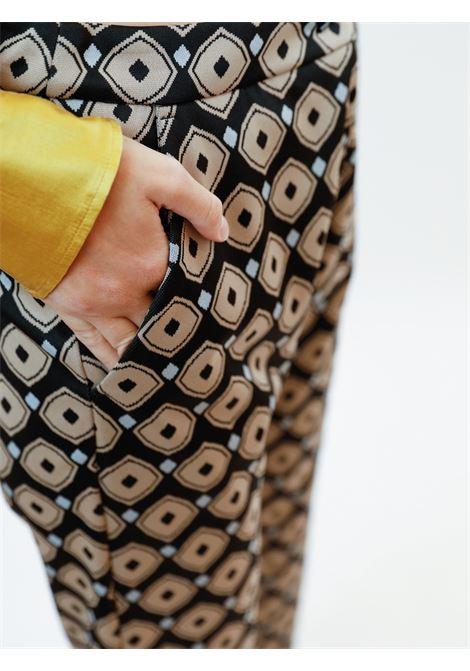 Women's Archizo Jersey Jacquard Stretch Black Patterned Trousers Maliparmi | Skirts and Pants | JH747960050B2027